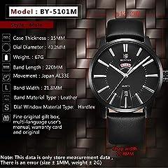 BENYAR Men's Watch Japan Quartz Movement-30M Waterproof Fashion Sports Chronograph Date Leather Men's Watch #5
