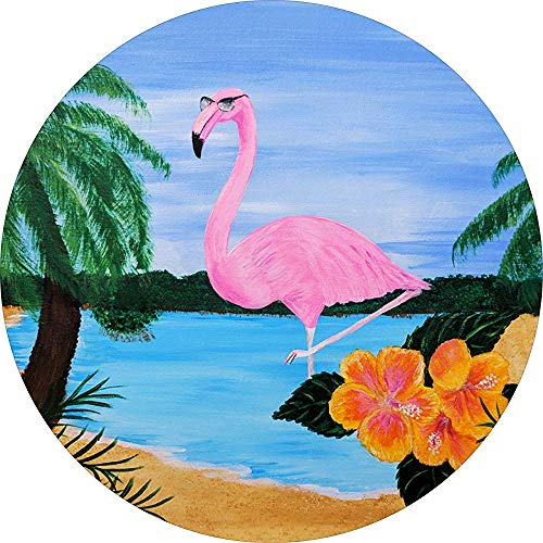 Tire Cover Central Flamingo Vogel Met Zonnebril Tropische Hibiscus Palm Boom Spare Tire Cover Voor Camper, Rv, Scamp, Trailer