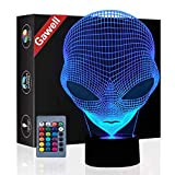 Martian Alien 3D Halloween Decorations Illusion Night Light Beside Table Lamp, Gawell 16 Colors Changing Touch Switch Lamps Birthday Gift with Remote Control Alien Lover Theme Toy