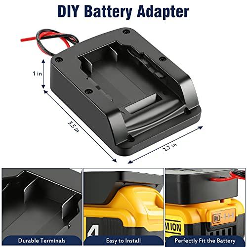 Power Wheels Adapter Compatible with Dewalt 18V/20V Tools Battery Dock Power Connector 12 Gauge Robotics, ABS Materials Portable DIY RC Toys Adapter Set(Black)