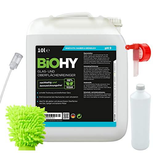 BIOHY Glas- und Oberflächenreiniger (10 litro) Set | Detergente per vetri e superfici Contenitore da 10 litro | Detergente automatico intensivo e di lunga durata | Detergente organico professionale