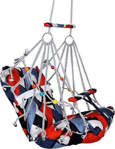 Luxafare Cotton Swing for Kids Baby's Baby Jhula Washable 1-3 Years with Safety Belt Home Garden Jhula for Babies for Indoor Outdoor
