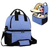 Teamoy Breast Pump Bag Tote with Cooler Compartment for Breast Pump, Cooler Bag, Breast Milk Bottles and More, Double Layer Pumping Bag for Working Moms, Blue(Bag Only)
