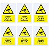 6 Pack Pre-Drilled CCTV In Operation Sign, 150 mm x 200 mm, Rigid Plastic