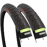 Fincci Coppia 26 x 1,95 Pollici 53-559 Slick Pneumatici Copertone con Anti-puntura Antiforatura da 2,5 mm per Strada MTB Montagna Ibrida Bici Bicicletta (Confezione da 2)
