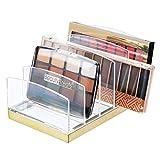 mDesign Organizador de maquillaje en plástico – Clasificador con 5 compartimentos para organizar maquillaje – Bandeja organizadora para lavabo, tocador o armario – transparente/dorado latón