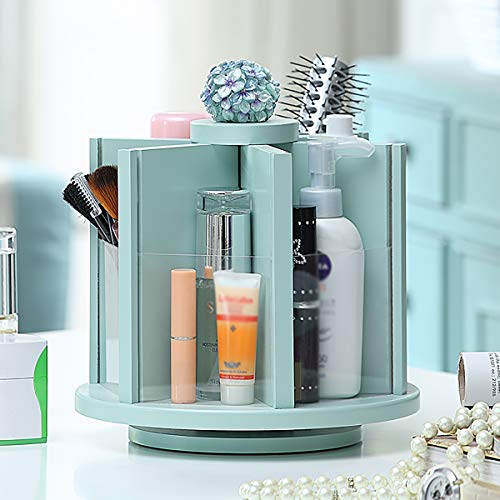 Tsosginaog 360 Holz Make-up Und Cosmetic Organizer, Aufbewahrungskarussell Für Waschtisch, Bad, Schrank, Küche, Tisch, Arbeitsplatte, Schreibtisch,Blau