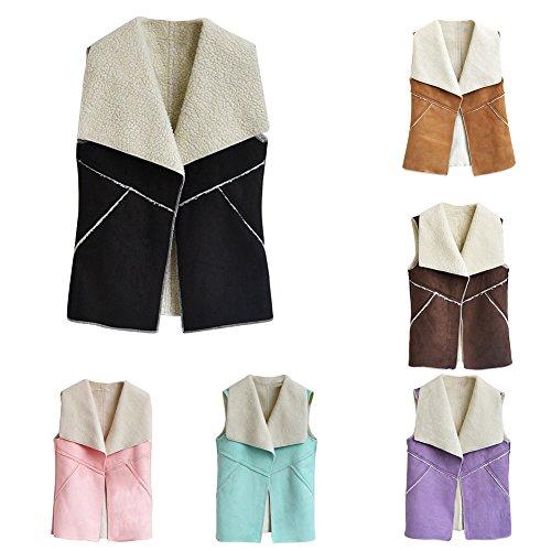 FeiyanfyQ Promotion-Kleidung, modische Damenweste aus Kunstfellimitat, Lammwolle, Umschlagkragen Gr. XXX-Large, violett