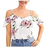 Liably Elegante blusa para mujer con estampado floral, cuello en V, manga corta, informal, azul, naranja, verde, blanco Rosa. S