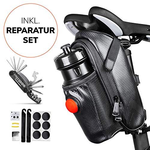 Satteltaschen für Fahrrad inkl. Reifen Reparaturset und Rücklicht- & Flaschenhalter - Geräumige Fahrradtasche mit Werkzeug für den Sattel aus wasserabweisendem Material