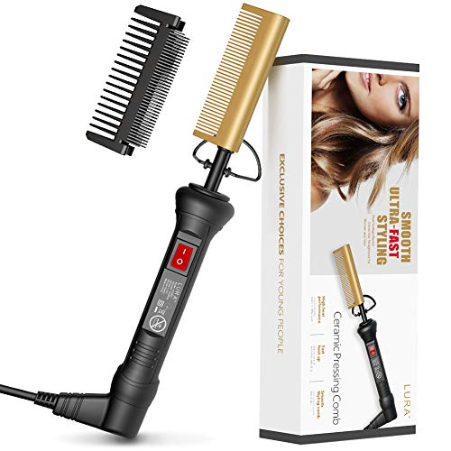 Hot Comb Hair&Beard Professional Straightener, Ceramic Fast Heating to 450℉, Anti-Scald Comb with Protector, Dual Voltage Electric Pressing Comb Hair Straightener for Stylist and Salon at Home HC0901