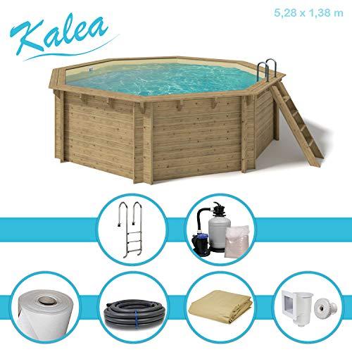 Paradies Pool® Holzpool Kalea Premium Komplettset inkl. Sandfilteranlage für 50er Verrohrung, Tiefbeckenleiter, Folie Sand mit 0,6mm Stärke, Achteck-Pool, 528 x 138 (Ø x H), Menge: 1 Stück