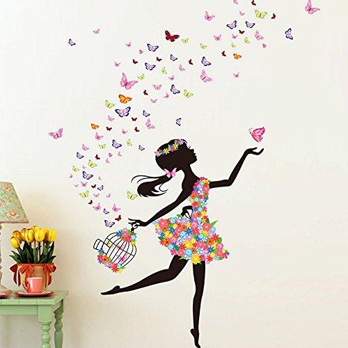 OLSR Romántico flor niña desmontable impermeable pegatina de pared Pegatinas Decorativas Adhesiva Pared Dormitorio Salón Guardería Habitación Bebés Infantiles Niños (Bailarina)