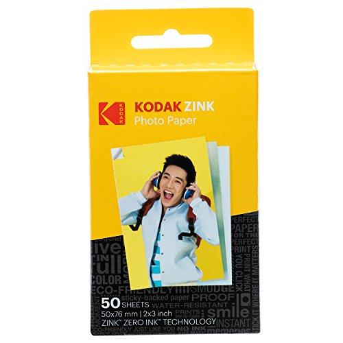 Kodak Papel Fotográfico Zink Premium de 2X3 Pulgadas (50 Hojas) Compatible con Kodak Smile, Kodak Step, Printomatic