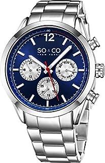 SO&CO New York Reloj de pulsera de cuarzo con fecha para hombre, de acero inoxidable