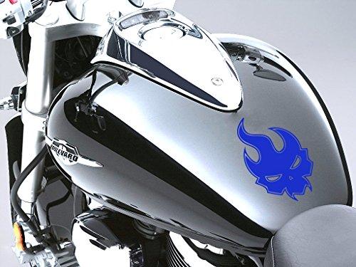 Evil flamme Moto Réservoir à carburant Sticker voiture en 100 mm x 160 mm – Bleu