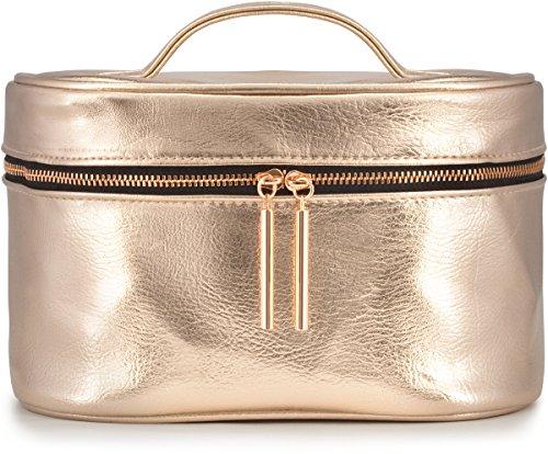 Large Rose Gold Metallic Cosmetic Makeup Train Toiletry Organizer Bag for Travel & Storage, Made of Vegan Leather