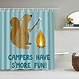 Cortina de Ducha Impermeable,Linda Ardilla Sonriente con Marshmallow Campfire y Text Campers Have S 'Más Divertido,Cortinas de baño de poliéster de diseño 3D con 12 Ganchos,tamaño 180 x 210cm
