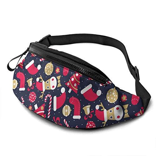 NHCY Waist Pack Verstellbare Träger Tasche mit Kopfhöreranschluss Geeignet für Sportreisen Freizeit Laufen Candy Lebkuchen Santa Claus Candy