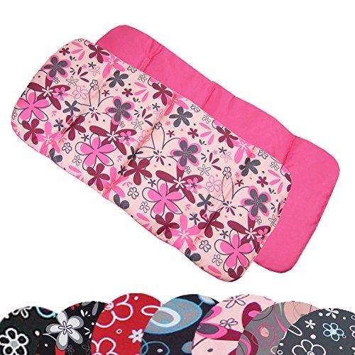 BAMBINIWELT Auflage SITZUNTERLAGE für Buggy Jogger Babyschale DESIGN (rosa pinke Blumen)