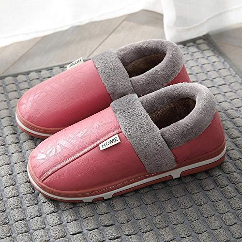 Nwarmsouth Zapatillas Slip On Mules para Hombre,Zapatillas calentitas de Piel, Zapatos de algodón Antideslizantes e Impermeables-Rosa_34-35,Peluche Zapatos Memory Foam