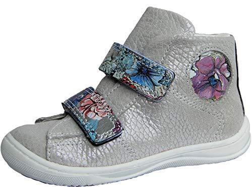 ennellemoo® Mädchen-Baby-Kinder-Boots-Halbschuhe-Sneaker. Echt Leder-Schuhe-Klettverschluss. Premiumschuhe - Vollleder. (Silbergrau, Numeric_27)