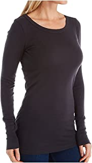 Michael Stars Women's Supima Long-Sleeve Raw-Edge Banded Crew-Neck T-Shirt