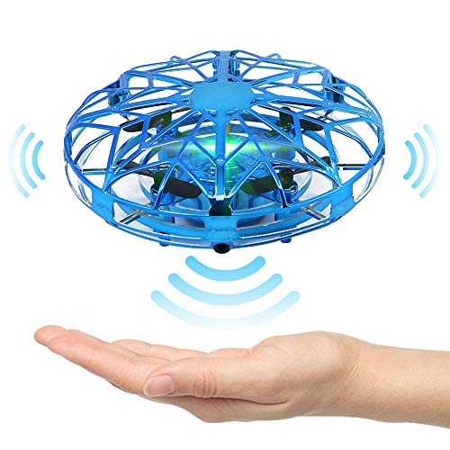 SATOHA Mini dron operado a Mano para Interiores con 5 sensores interactivos mejorados Fácil helicóptero de Bola voladora OVNI Giratorio de 360 Grados para niños (Azul)