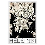 artboxONE Poster 30x20 cm Städte Retro City Map Helsinki