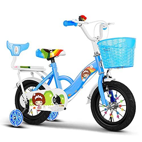 CKCL Bicicleta para Niños, Bicicleta De 2 a 13 Años Niños Niñas 12 14 16 18 Bicicleta De 20 Pulgadas con Asiento Trasero, Ruedas Flash De Entrenamiento para Niños Y Canasta para Llevar,Azul,18inches