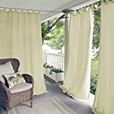 Elrene Home Fashions Indoor/Outdoor Solid UV Protectant Tab Top Single Window Curtain Panel Drape for Patio, Pergola, Porch, Deck, Lanai, and Cabana Matine Ivory 52'x84' (1 Panel)