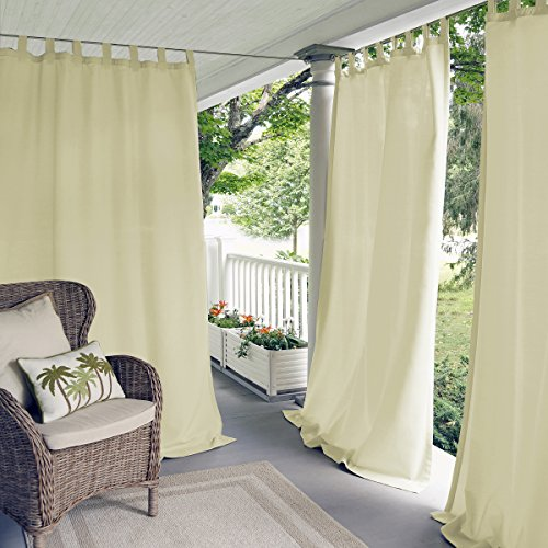 """Elrene Home Fashions Indoor/Outdoor Solid UV Protectant Tab Top Single Window Curtain Panel Drape for Patio, Pergola, Porch, Deck, Lanai, and Cabana Matine Ivory 52""""x84"""" (1 Panel)"""