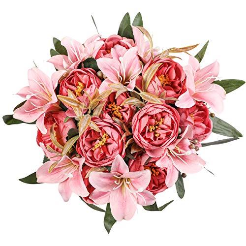 Kisflower 2 racimos de Flores de peonía Artificiales Ramo de Peonía de Seda con Lirio Ramo de Lirio Artificial para decoración de Oficina de Boda de Mesa en casa (Rosa 3)