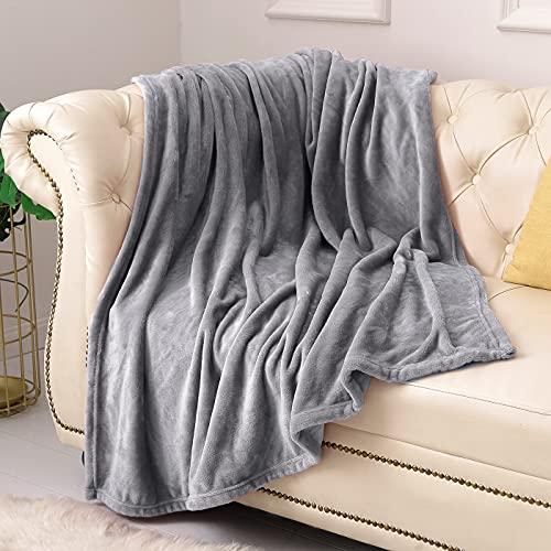 KMUSET Fleece Blanket Throw Size Grey Lightweight Super Soft Cozy Luxury Bed Blanket Microfiber...