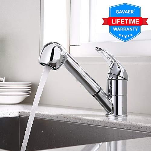 GAVAER Küchenarmatur, 360 ° Drehbare Einhebel-Wasserhahn Küche mit Ausziehbrause, 2 Strahlarten, für Warm- und Kaltwasser Geeignet, Messing Verchromt, Lebenslange Garantie