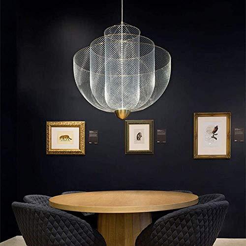 MJK Lámparas de techo Lámparas de techo, fácil de instalar Rejilla metálica Lámpara nórdica Modelo moderno Casa Villa Sala de estar Café Restaurante Lámpara de araña Tamaño bien hecho 60X75Cm