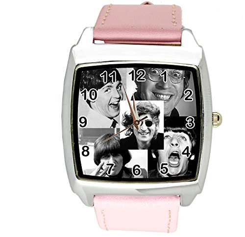 taport The Beatles Crazy cuarzo cuadrado Dial de reloj rosa de piel banda E5+ libre batería de repuesto + libre bolsa de regalo