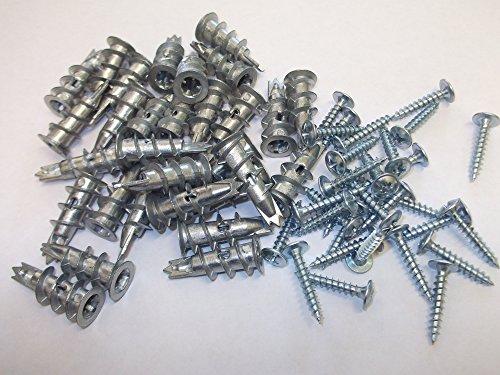 30 x Gipskarton-Metalldübel-Befestigungen selbstbohrend, 32 mm mit Schraube, Trockenbau, Beton, Spanplatte