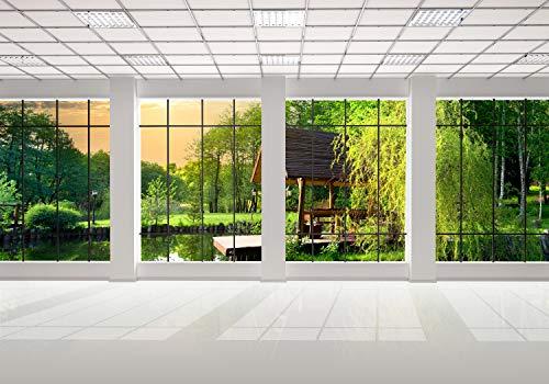 wandmotiv24 Fototapete Fenster Fensterblick 3D, XL 350 x 245 cm - 7 Teile, Fototapeten, Wandbild, Motivtapeten, Vlies-Tapeten, Garten, Bäume, Grün M0703