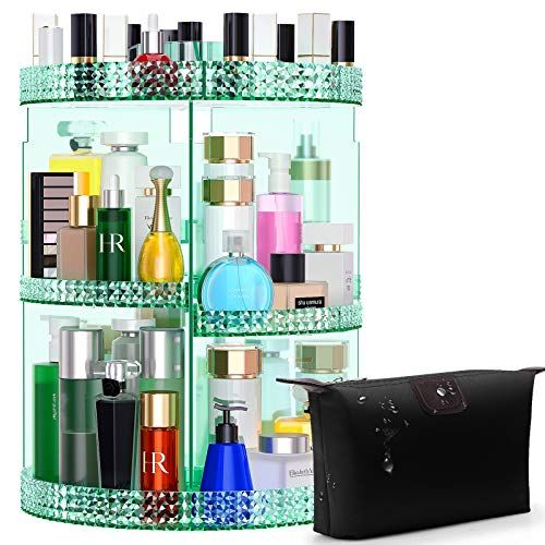 Awenia Makeup Organizer 360-Degree Rotating, Adjustable Makeup Storage, 7 Layers Large Capacity Cosmetic Storage Unit, Fits Different Types of Cosmetics and Accessories, Plus Size with Makeup Bag(Green)