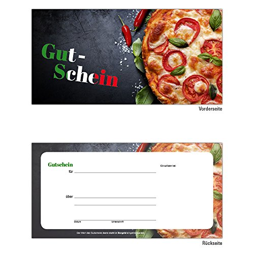 25 Pizza Pasta Gutscheine Gutscheinkarten Geschenkgutscheine – edel neutral taliener, Ristorante, Pizzeria, Gastronomie, Restaurant, Bar und Imbiss Pasta Italien