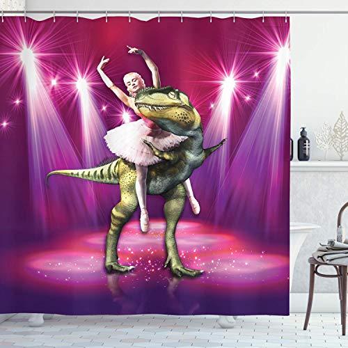 Alvaradod Tier Duschvorhang,Ballerina Tanzen mit einem Dinosaurier unter Neon Bühne Ungewöhnlicher absurder Bilddruck,Stoff Stoff Badezimmer Dekor Set mit,Lila Pink mit 12 Plastikhaken 180x180cm