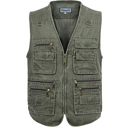 Flygo Men's Fishing Multi Pockets Plus Size Photography Outdoor Climbing Causual Tactical Multi Use Vest (Army Green, Medium)