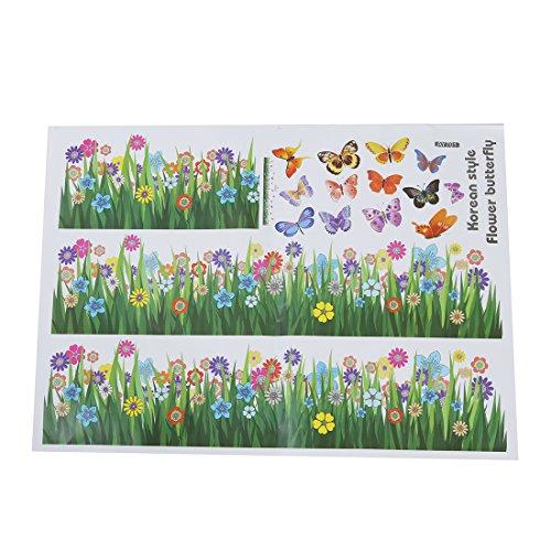 WANWE Pegatina de pared extraíble con diseño de mariposa de flores de hierba