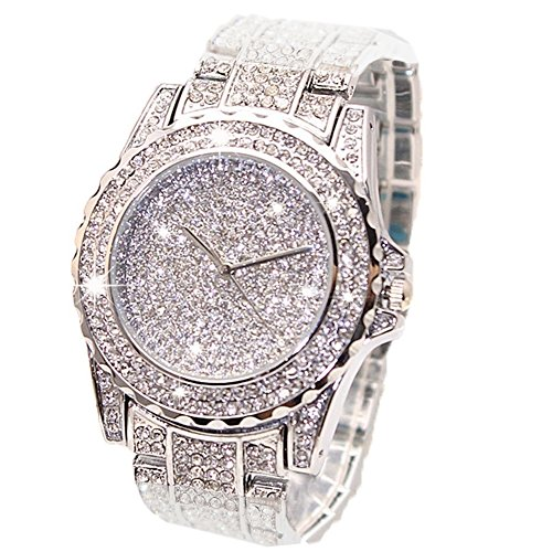 Luxury Bling Watch Fashion for Women Men Jewelry Crystal Diamond Rhinestone Watches Steel Band Round Dial Analog Clock Classic Quartz Insane Jewelry Collection