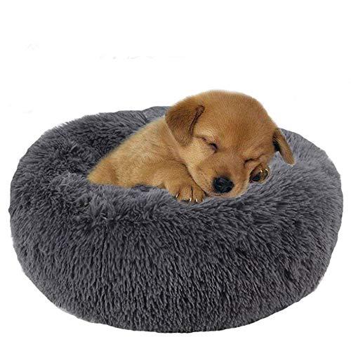 Vejaoo Cama calmante para Perros y Gatos,Cama Gato Suave Redonda Cama Perro, Sofá Gato, Sofá Perro XZ009 (Diameter:80cm, Dark Grey)