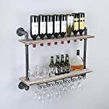 FODUE Rustic Wall Mounted Wine Racks with Glass Holder Pipe Hanging Wine Rack,2-Tiers Wood Shelf Floating Shelves,Home Room Living Room Kitchen Decor Display Rack (24 inch)