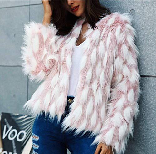 UMOOIN Fluffy Warm-Pelz-Mantel-Frauen Fake Fur Short Wintermantel weiblichen Herbst Rosa Weiß Jacquard Partei beiläufig Furry Overcoat Oberbekleidung,M
