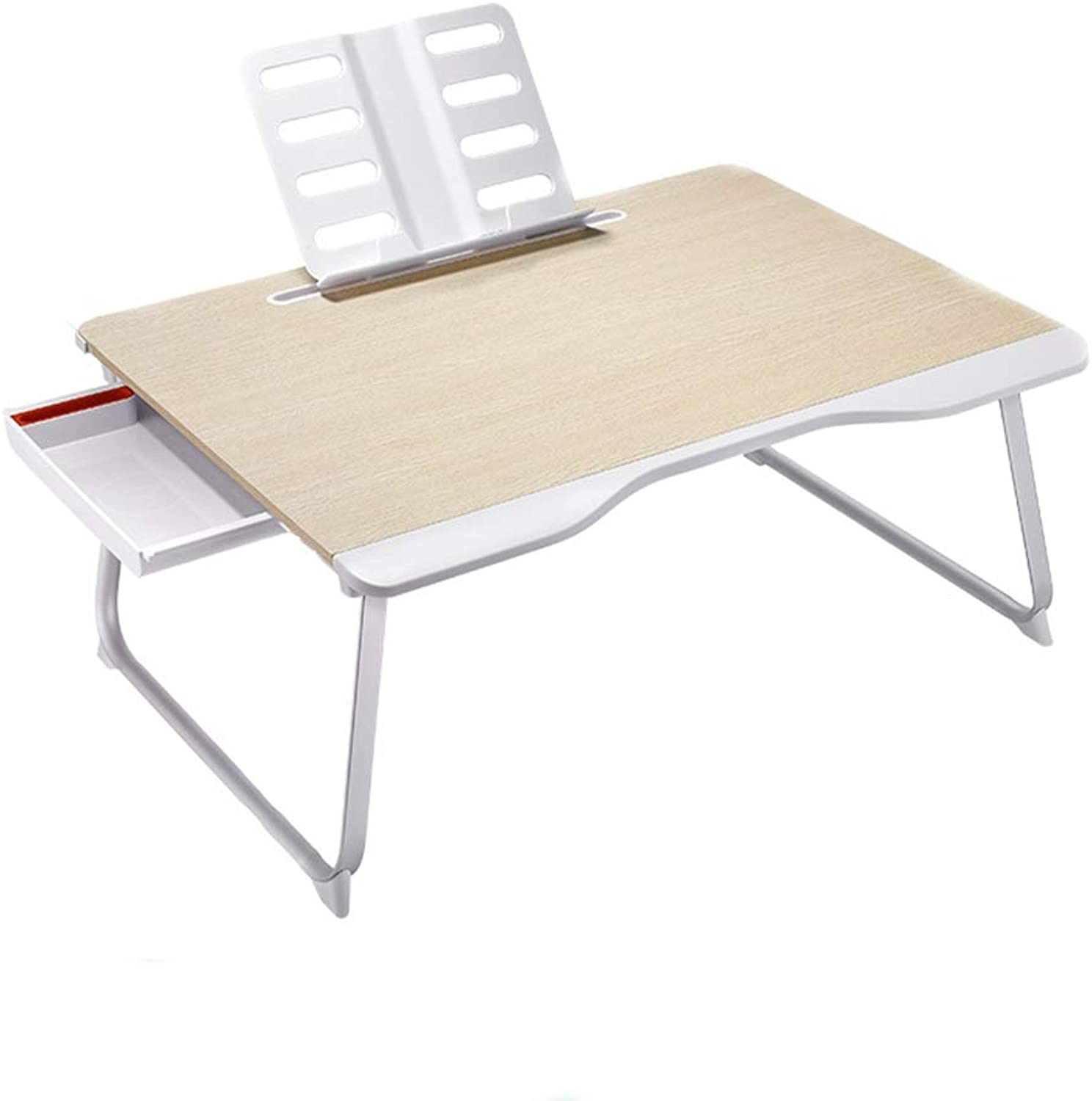 Folding Study Table, Multifunctional Bracket Folding Table, Aluminum Alloy Portable, Suitable for Bed Bedroom Dormitory (Oak Grain)