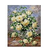 Pintura al óleo digital Pintura al óleo Flor sobre lienzo con dibujo a mano Pintura Imagen adulta para colorear Arte decorativo digital W5 50x65cm